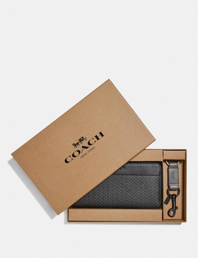 Coach Boxed Accordion Wallet Gift Set With Herringbone Print Black/Multi Clearance Men