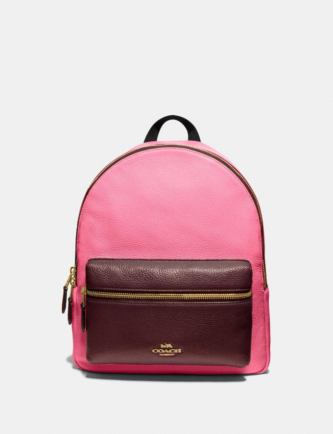 Coach Medium Charlie Backpack in Colorblock Pink Ruby/Gold