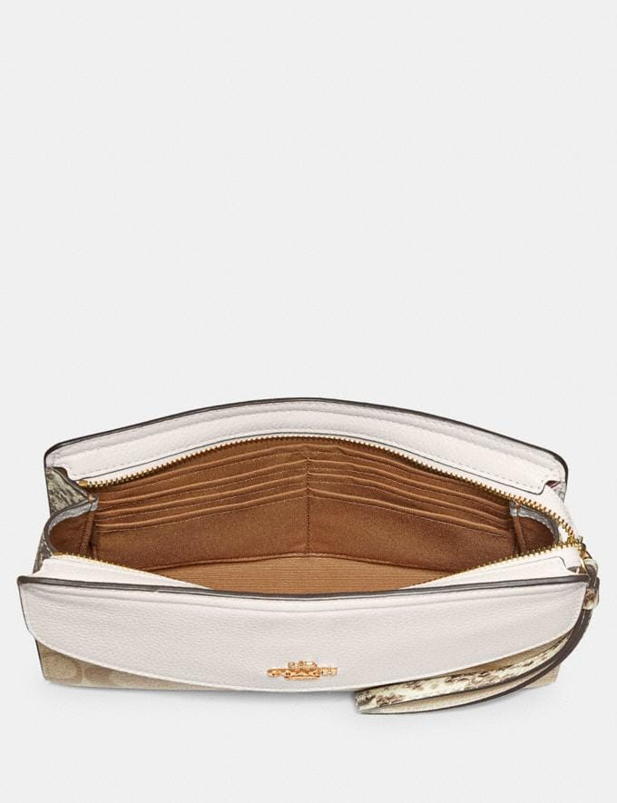 Coach Flap Clutch in Signature Canvas Light Khaki/Coral/Gold Clearance Last Call Alternate View 1