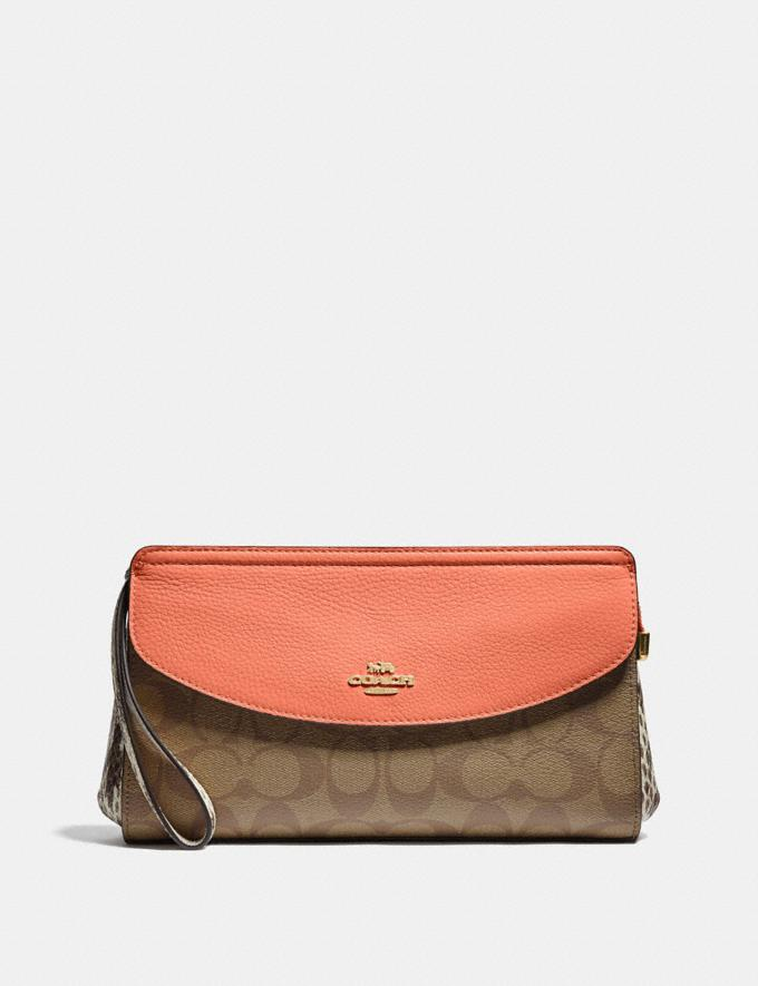 Coach Flap Clutch in Signature Canvas Light Khaki/Coral/Gold Clearance Last Call