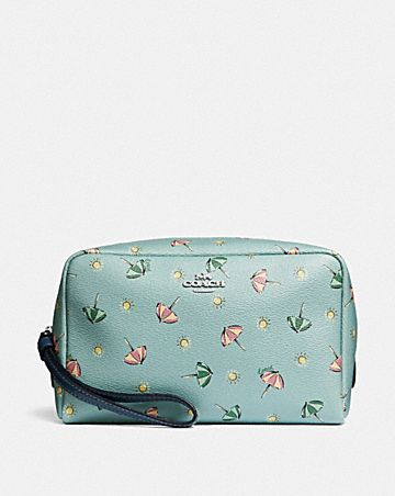 boxy cosmetic case with beach umbrella print