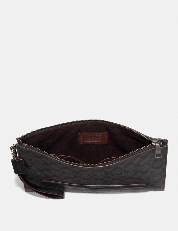 Coach Structured Pouch in Signature Canvas Black/Oxblood Clearance Men Alternate View 1