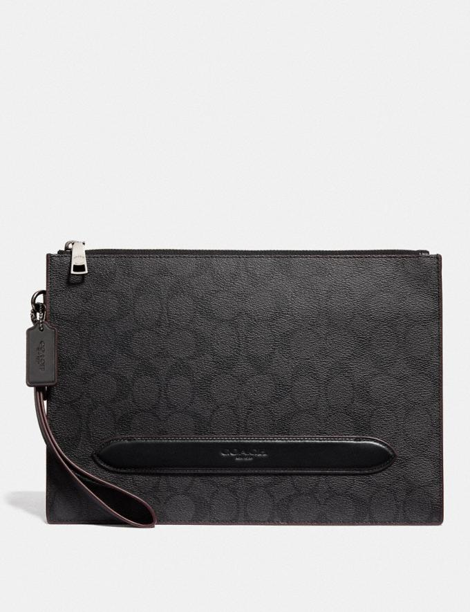 Coach Structured Pouch in Signature Canvas Black/Oxblood Clearance Men