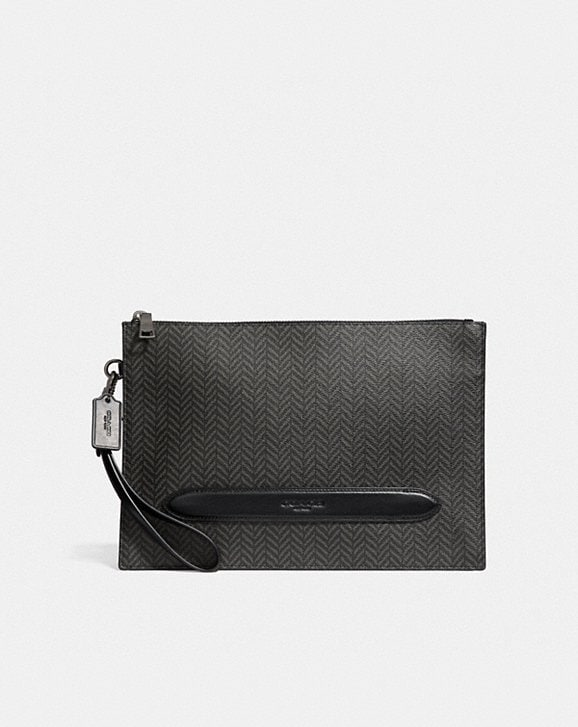 Coach STRUCTURED POUCH WITH HERRINGBONE PRINT