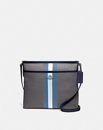 FILE CROSSBODY IN SIGNATURE JACQUARD WITH VARSITY STRIPE