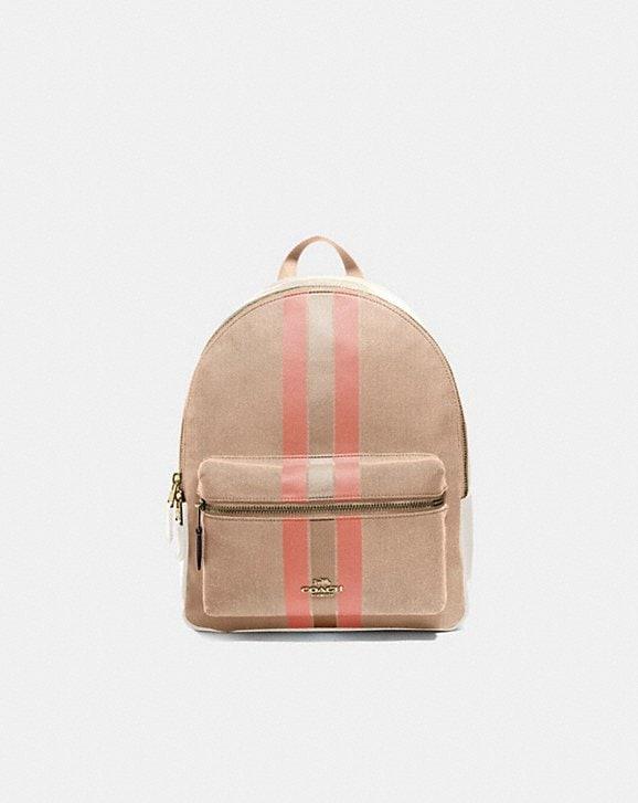 Coach MEDIUM CHARLIE BACKPACK IN SIGNATURE JACQUARD WITH VARSITY STRIPE