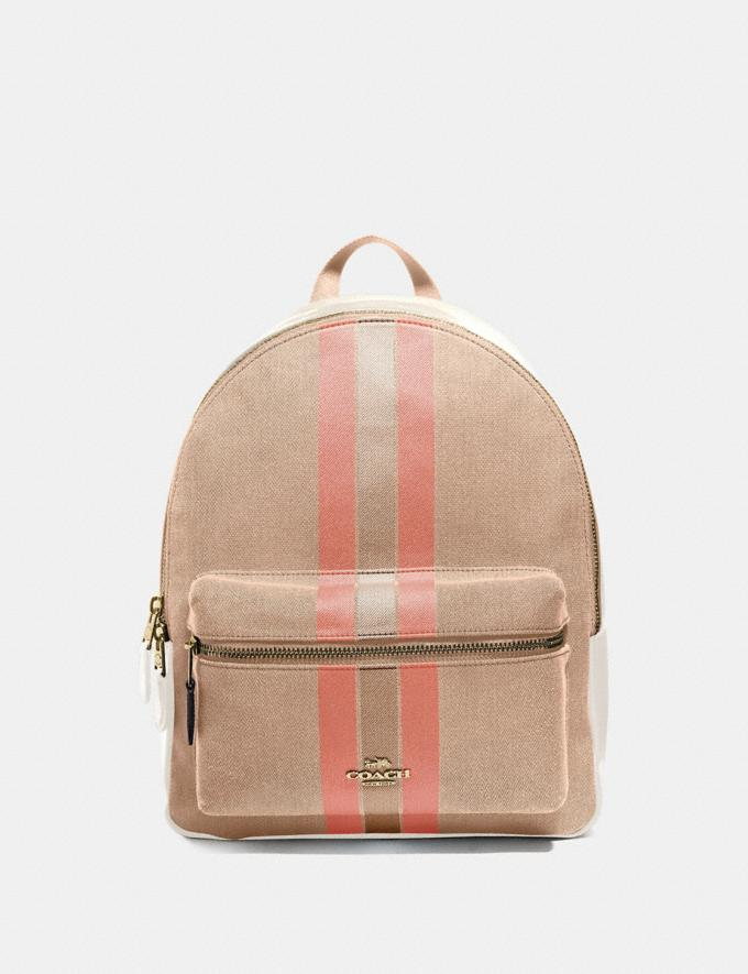 Coach Medium Charlie Backpack in Signature Jacquard With Varsity Stripe Light Khaki/Coral/Gold Explore Bags Bags Backpacks