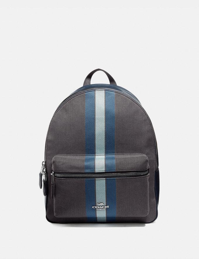 Coach Medium Charlie Backpack in Signature Jacquard With Varsity Stripe Midnight Blue/Silver Handbags Handbags Backpacks