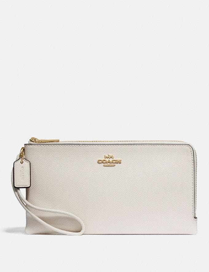 Coach Double Zip Wallet Chalk/Imitation Gold