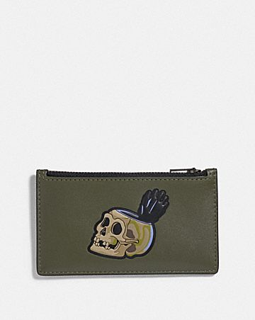 DISNEY X COACH ZIP CARD CASE WITH SNOW WHITE AND THE SEVEN DWARFS SKULL MOTIF