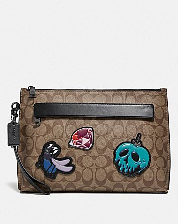 DISNEY X COACH CARRYALL POUCH IN SIGNATURE CANVAS WITH SNOW WHITE AND THE SEVEN DWARFS PATCHES