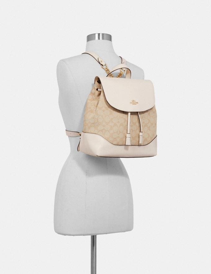 Coach Elle Backpack in Signature Jacquard Khaki/Saddle 2/Gold  Alternate View 2