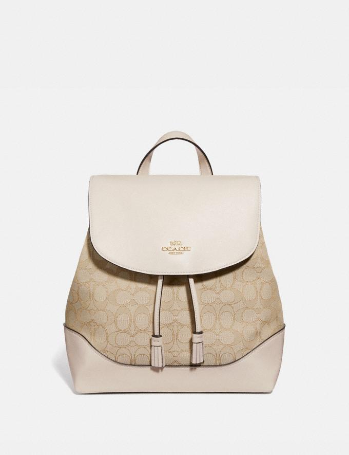 Coach Elle Backpack in Signature Jacquard Light Khaki/Chalk/Imitation Gold Explore Bags Bags Backpacks
