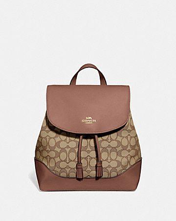 elle backpack in signature jacquard