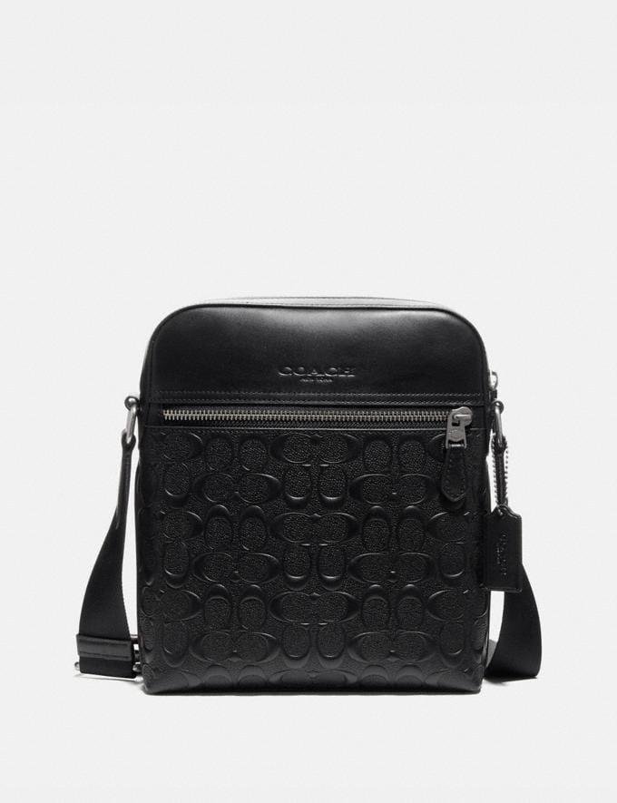 Coach Houston Flight Bag in Signature Leather Black/Black Antique Nickel Explore Men Explore Men Bags