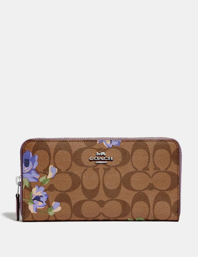 Coach Accordion Zip Wallet in Signature Canvas With Lily Print Khaki/Purple Multi/Silver