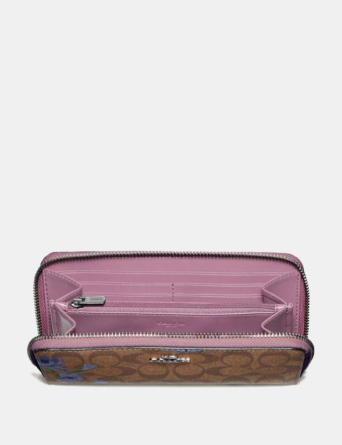 Coach Accordion Zip Wallet in Signature Canvas With Lily Print Khaki/Purple Multi/Silver  Alternate View 1