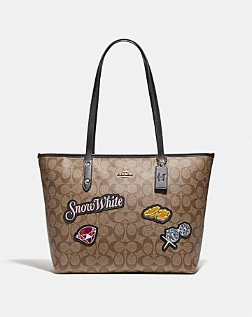DISNEY X COACH CITY ZIP TOTE IN SIGNATURE CANVAS WITH SNOW WHITE