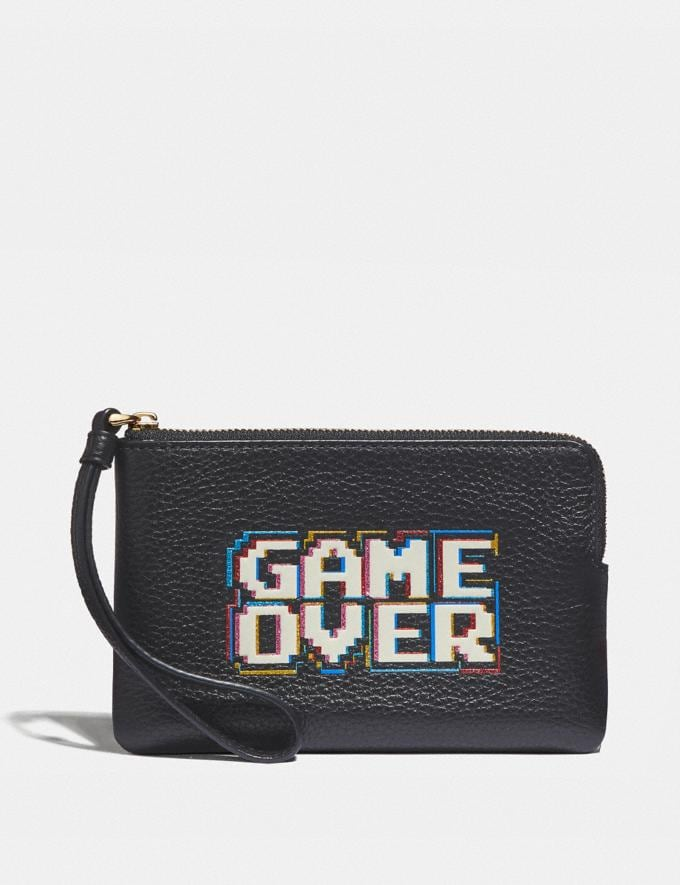 Coach Corner Zip Wristlet With Pac-Man Game Over Black/Multi/Gold