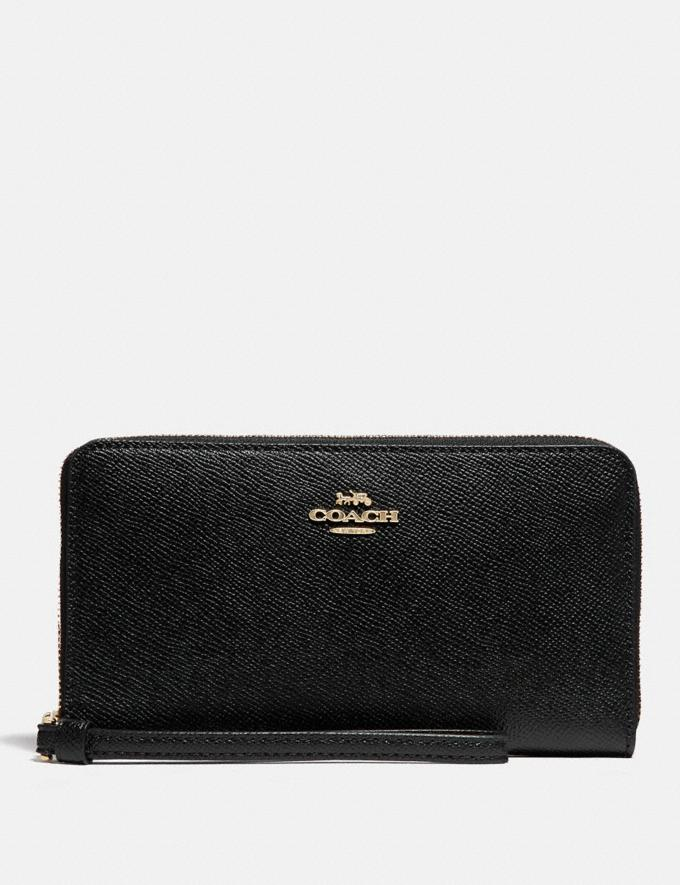 Coach Large Phone Wallet Black/Imitation Gold Women Business Essentials