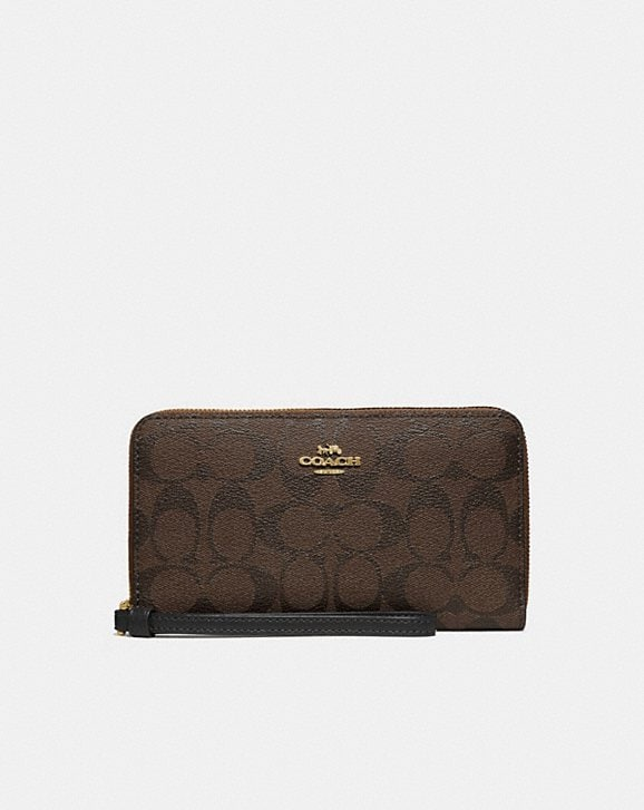 Coach LARGE PHONE WALLET IN SIGNATURE CANVAS