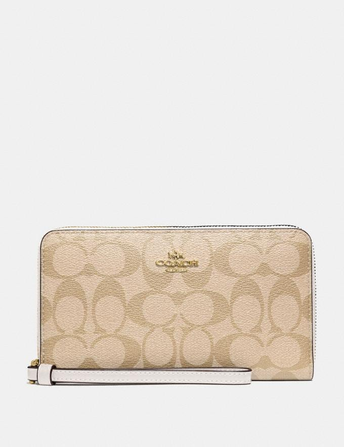 Coach Large Phone Wallet in Signature Canvas Light Khaki/Chalk/Imitation Gold