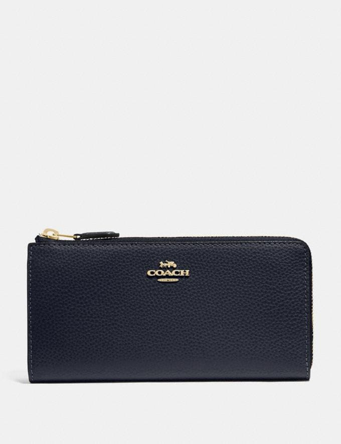 Coach L-Zip Wallet Midnight/Gold Explore Women Explore Women Wallets