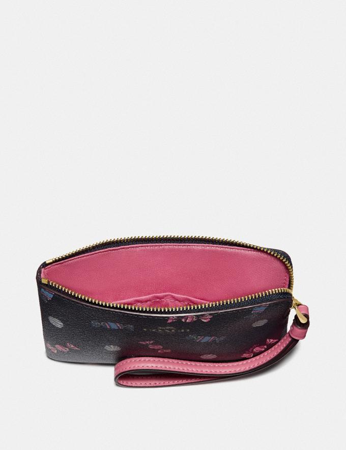 Coach Corner Zip Wristlet With Scattered Candy Print Navy/Multi/Pink Ruby/Gold Explore Women Explore Women Wristlets Alternate View 1