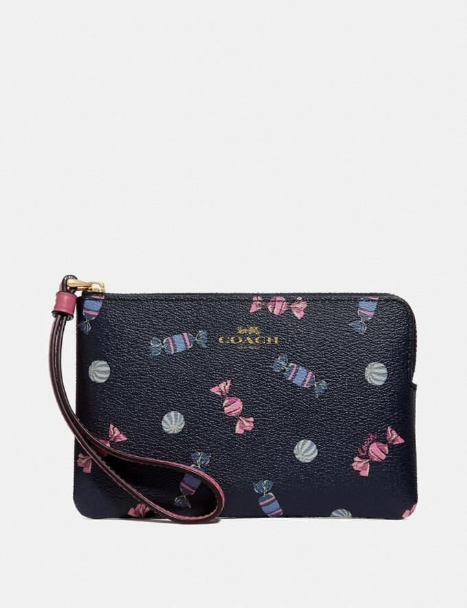 Coach Corner Zip Wristlet With Scattered Candy Print Navy/Multi/Pink Ruby/Gold Explore Women Explore Women Wristlets