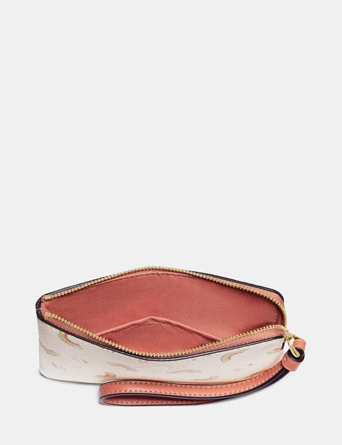 Coach Corner Zip Wristlet With Allover Rainbow Print Chalk/Light Coral/Gold Explore Women Explore Women Wristlets Alternate View 1
