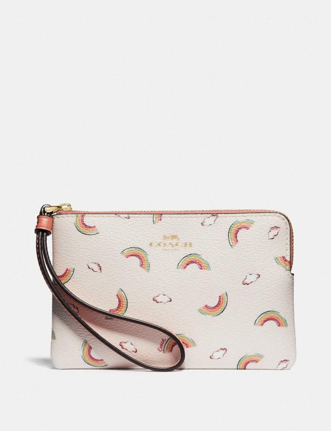 Coach Corner Zip Wristlet With Allover Rainbow Print Chalk/Light Coral/Gold Explore Women Explore Women Wristlets