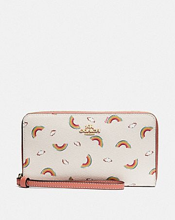 LARGE PHONE WALLET WITH ALLOVER RAINBOW PRINT