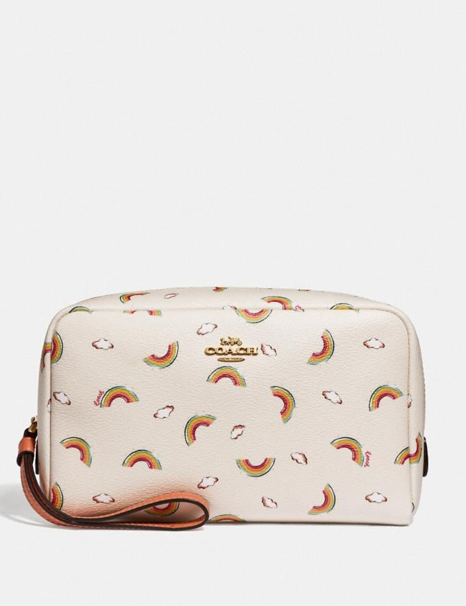 Coach Boxy Cosmetic Case With Allover Rainbow Print Chalk/Light Coral/Gold Explore Women Explore Women Bag Charms & Accessories