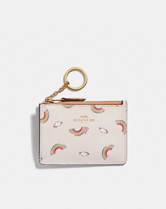 Coach MINI SKINNY ID CASE WITH ALLOVER RAINBOW PRINT