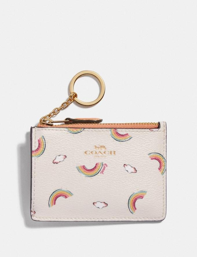 Coach Mini Skinny Id Case With Allover Rainbow Print Chalk/Light Coral/Gold Explore Women Explore Women Bag Charms & Accessories