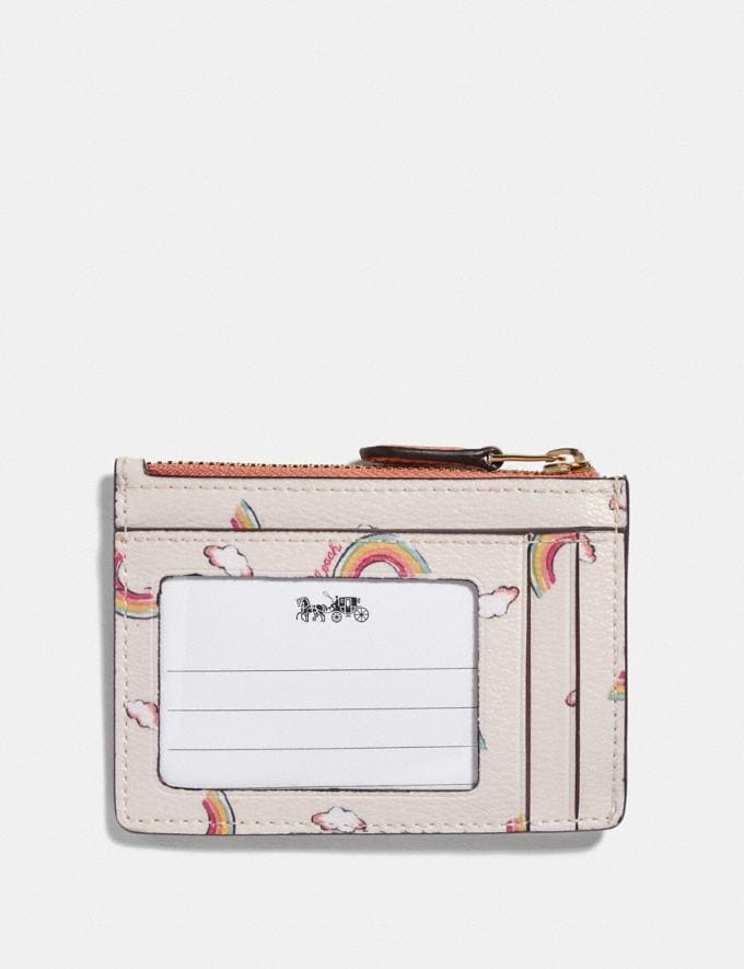 Coach Mini Skinny Id Case With Allover Rainbow Print Chalk/Light Coral/Gold Explore Women Explore Women Bag Charms & Accessories Alternate View 1