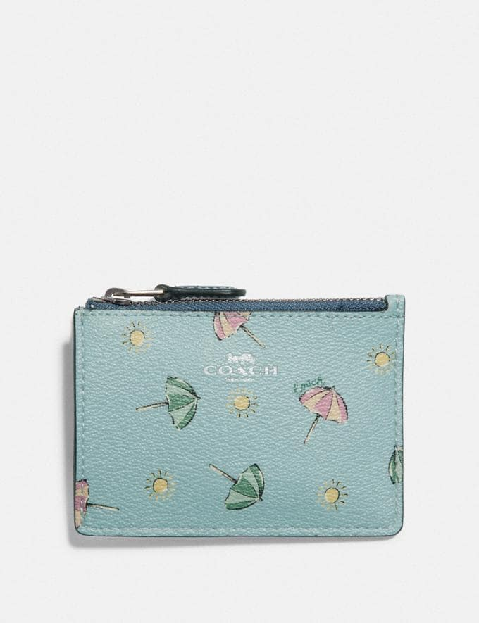 Coach Mini Skinny Id Case With Beach Umbrella Print Seafoam/Midnight/Silver Explore Women Explore Women Bag Charms & Accessories