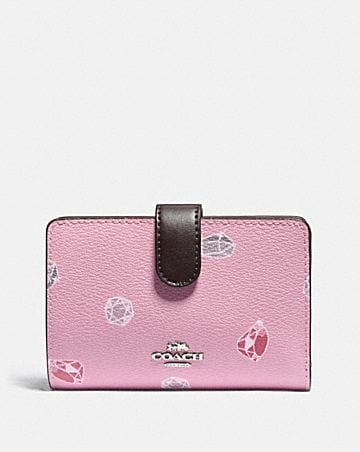 DISNEY X COACH MEDIUM CORNER ZIP WALLET WITH SNOW WHITE AND THE SEVEN DWARFS GEMS PRINT