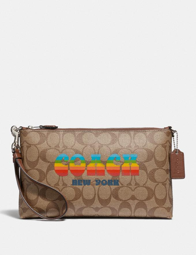 Coach Large Wristlet 25 in Signature Canvas With Rainbow Coach Animation Khaki/Multi/Silver Explore Bags Bags Clutches