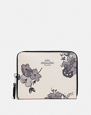 SMALL ZIP AROUND WALLET WITH FAIRY TALE FLORAL PRINT
