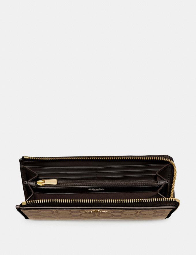 Coach L-Zip Wallet in Signature Jacquard Khaki/Brown/Imitation Gold Explore Women Explore Women Wallets Alternate View 1