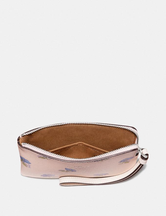 Coach Corner Zip Wristlet With Bell Flower Print Pink/Multi/Silver Explore Women Explore Women Wristlets Alternate View 1