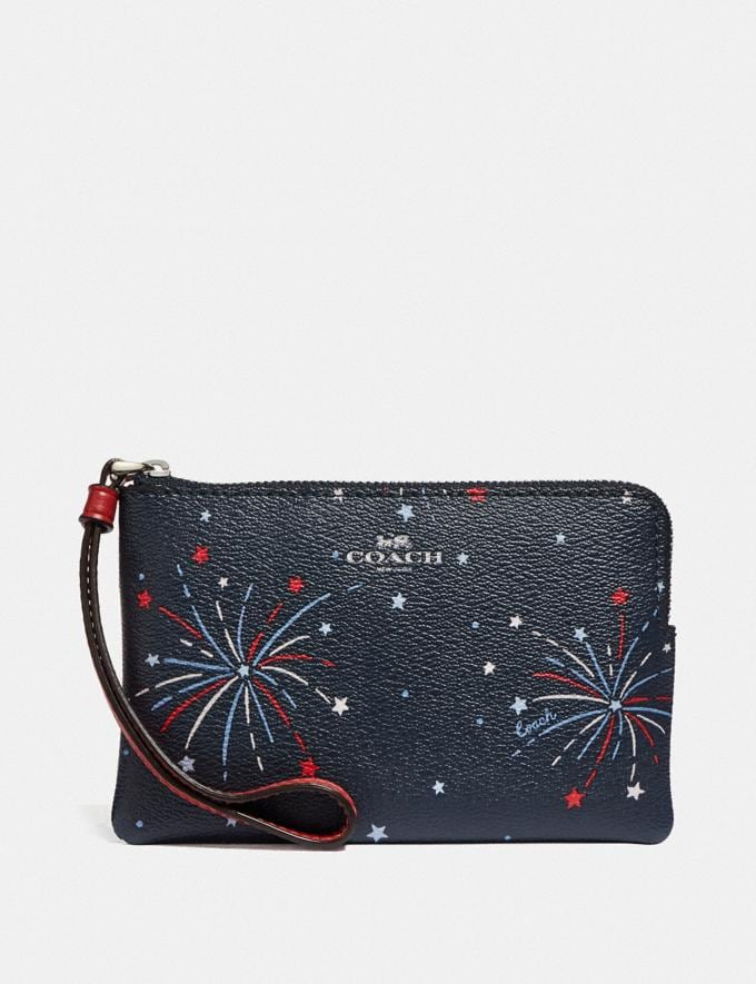 Coach Corner Zip Wristlet With Fireworks Print Silver/Navy Multi