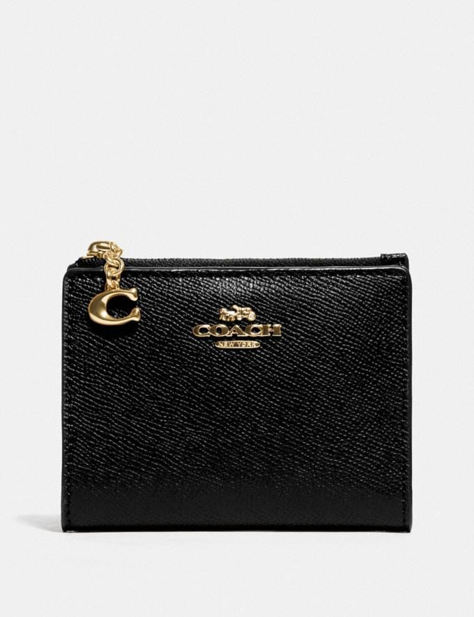 Coach Snap Card Case Black/Gold Explore Women Explore Women Wallets