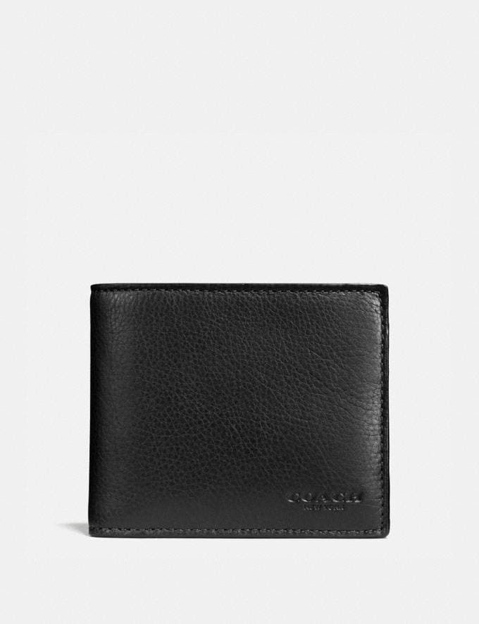 Coach Compact Id Wallet Black Men Wallets