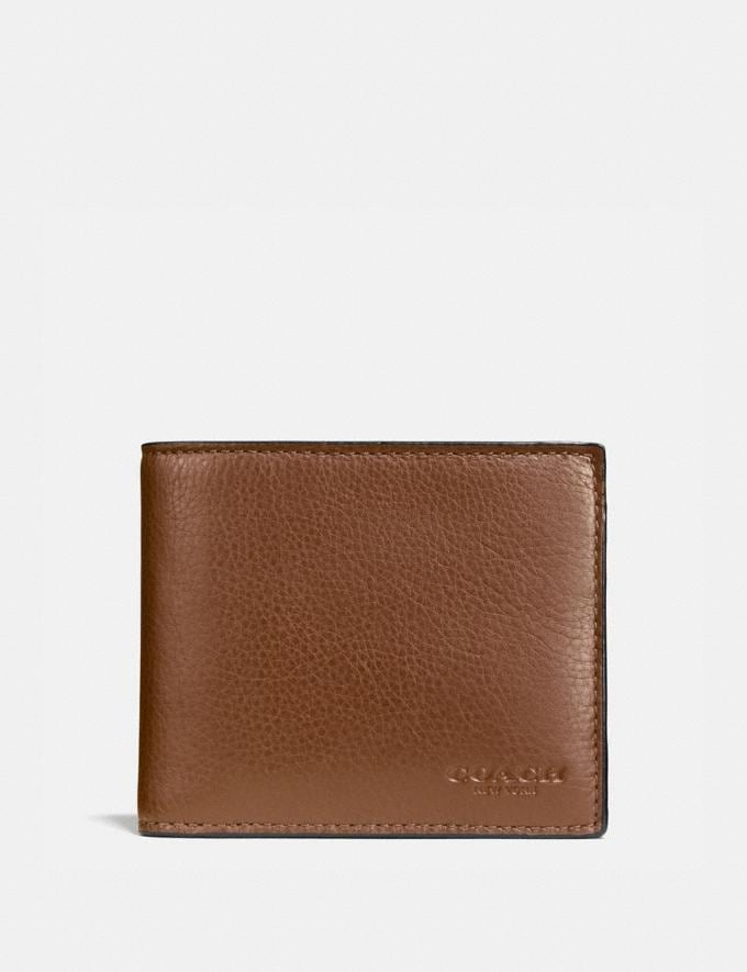 Coach Compact Id Wallet Dark Saddle Men Wallets
