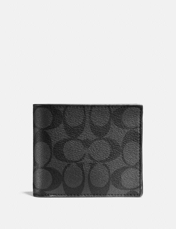 Coach Compact Id Wallet in Signature Canvas Charcoal/Black DEFAULT_CATEGORY