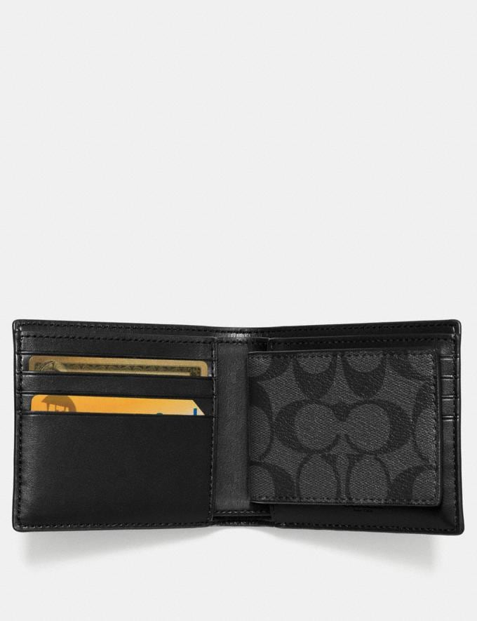 Coach Compact Id Wallet in Signature Canvas Charcoal/Black DEFAULT_CATEGORY Alternate View 1