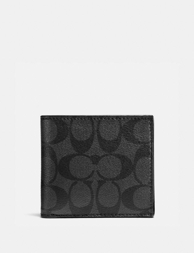 Coach Coin Wallet in Signature Canvas Charcoal/Black