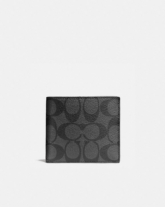 Coach DOUBLE BILLFOLD WALLET IN SIGNATURE CANVAS
